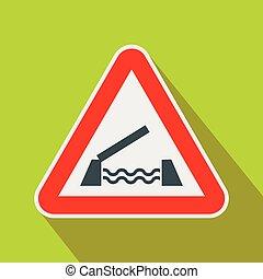 Lifting bridge warning sign icon, flat style - Lifting...