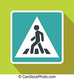Pedestrian road sign icon, flat style - Pedestrian road sign...