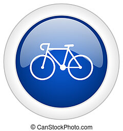 bicycle icon, circle blue glossy internet button, web and...