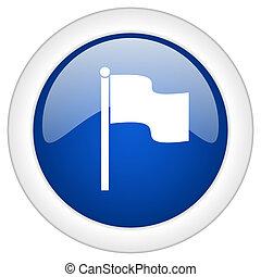 bandera, icono, círculo, azul, brillante, internet,...
