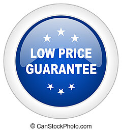 low price guarantee icon, circle blue glossy internet...