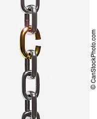 roto, hierro, cadena