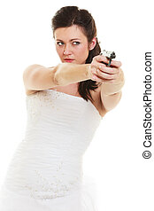 Angry bride with gun isolated on white. - Wedding Day. Angry...