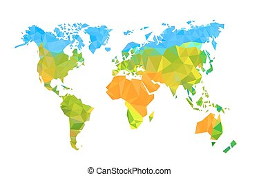 Map world polygon on a white background, Vector illustration...
