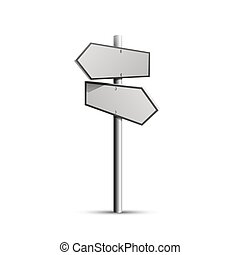 Column direction 3d, object on a white background, Vector illustration