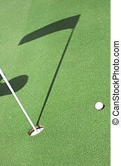 golf field and ball - pictire of golf field with white...