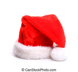 Christmass hat - Just red christmass santas hat at white...