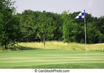 golf landscape - pictire of golf landscape with green grass...
