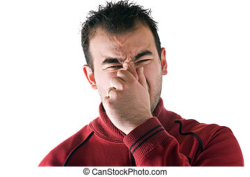 Stinky Smell - A young man holds or pinches his nose shut...