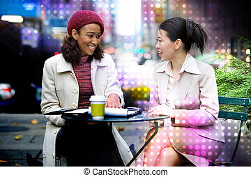 Women In a Business Meeting - Two business women having a...