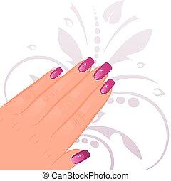 femininas, mão, manicured