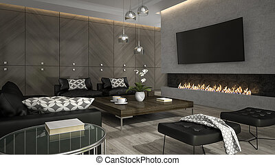 Interior of living room with stylish fireplace 3D rendering 3