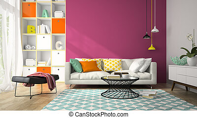 Interior of modern design room with purple wall 3D rendering 2