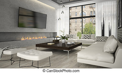 Interior of living room with stylish fireplace 3D rendering