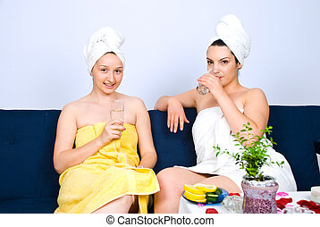 Two women at daily spa center - Two beautiful women friends...