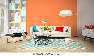 Interior of modern design room with red vase 3D rendering