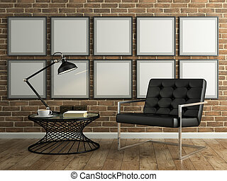 Part of  interior with brick wall and black armchair 3D rendering
