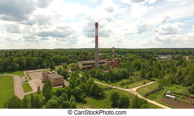 Thermal power plant.Aerial view - Aerial view.Pipes of a...