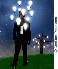 Dreamscape - Surreal landscape with man and idea bulbs