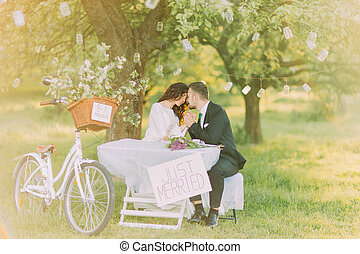 Romantic picknick under tree in park. Happy bride and lovely...