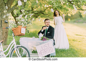 Romantic picknick in park. Playful bride at background and...