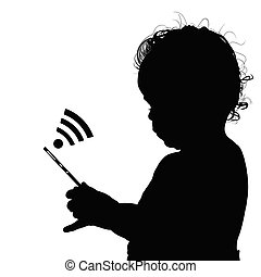 child with mobile phone illustration
