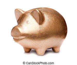 Golden pig moneybox - Golden happy pig moneybox at white...