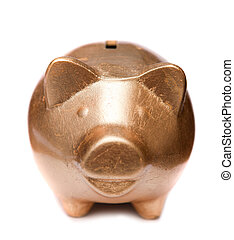 Golden pig moneybox - Golden happy pig moneybox at white...
