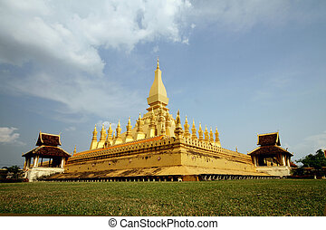 golden stupa - pha That Luang, the golden stupa on the...