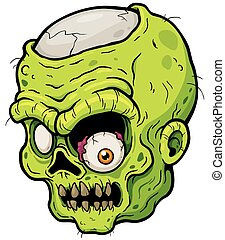 Zombie - Vector illustration of Cartoon zombie face