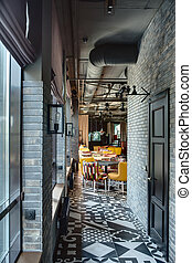 Restaurant in a loft style - Corridor to the room in a loft...