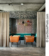 estilo, sótão, restaurante