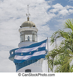 Guayaquil Cerro Santa Ana Lighthouse - Low angle view of...