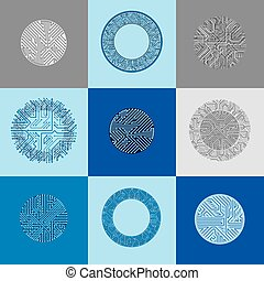 Vector circuit board circles, digital technologies...