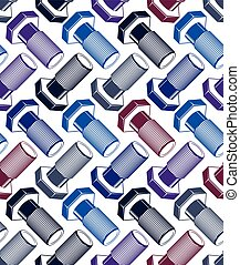 Seamless vector background with three-dimensional bolts,...