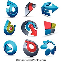 Vector multimedia signs collection isolated on white background. 3d colorful abstract design elements, can be used in web and graphic design and as marketing symbols.
