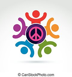 Society business and organization taking care about the peace, vector conceptual stylish symbol for your design.