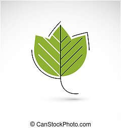 Vector illustration of green maple leaf isolated on white...
