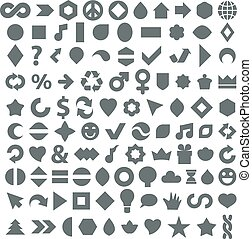 Different grayscale flat web icons set made on music, environment, economics and other social themes. Collection of geometric simple business elements best for use in graphic design.
