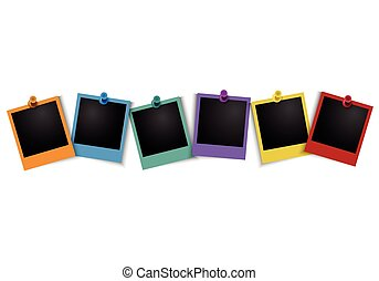Colorful photo frame with pushpin - Vector EPS 10 format.