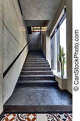 Stair in restaurant - Black stair with black handrail in a...