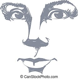 Vector drawing of pensive woman thinking about something...
