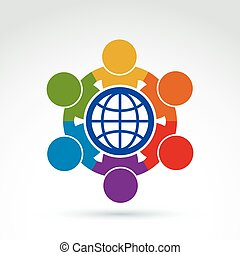 Society and business tem taking care about the world, global peace wealth and ecology theme icon, vector conceptual stylish symbol for your design.