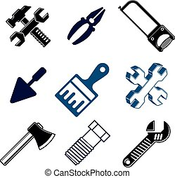 Work tools collection, vector repair instruments for...