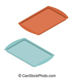 Empty tray for food. Plastic salver for meal. Kitchenware....