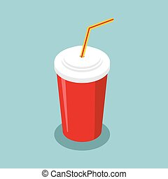 Red disposable paper cup with straw isometrics. Drink fast food