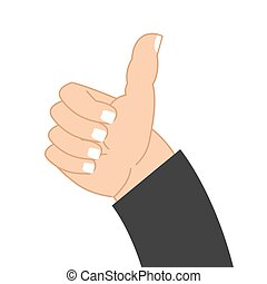 Thumb up hand of businessman. Sign well. good mood Symbol