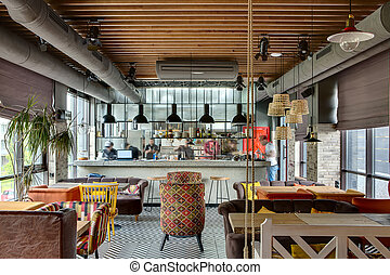 Restaurant with open kitchen - Fantastic interior in a loft...