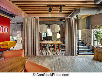 Interior of mexican restaurant - Hall in a loft style in a...