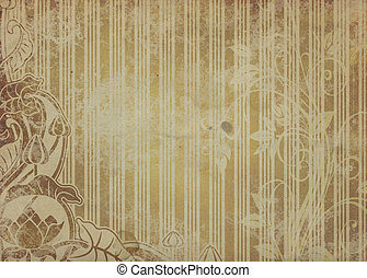 Grunge paper background with floral patterns.